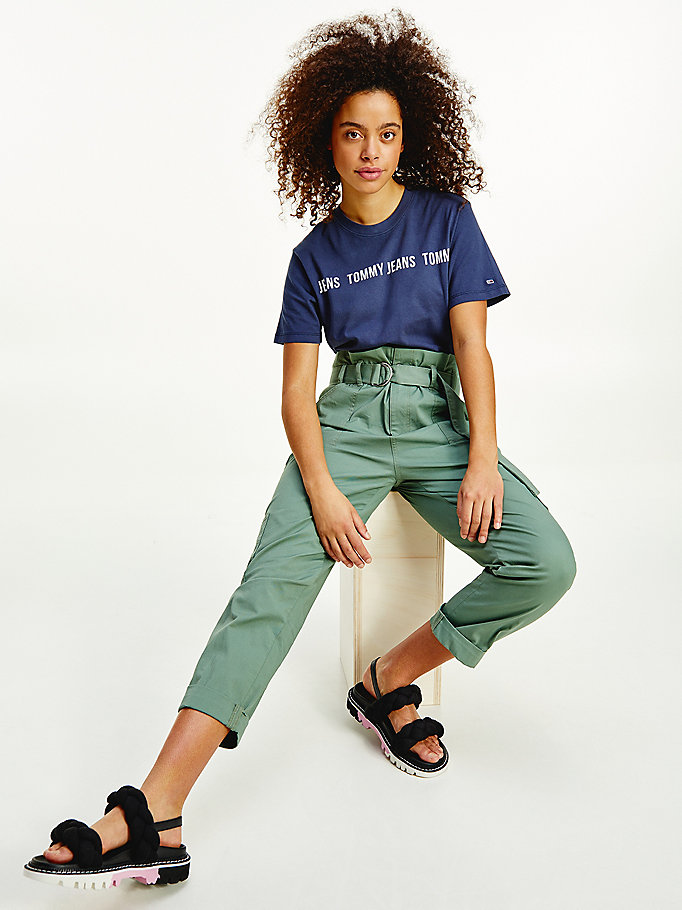 blue repeat logo tape cropped fit t-shirt for women tommy jeans