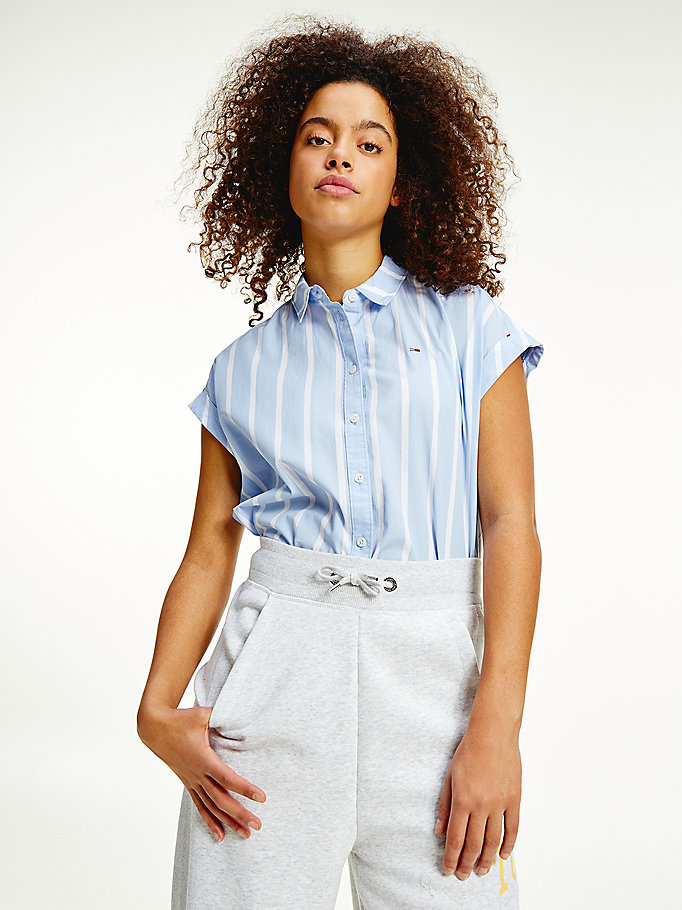 blue mixed stripe relaxed fit shirt for women tommy jeans