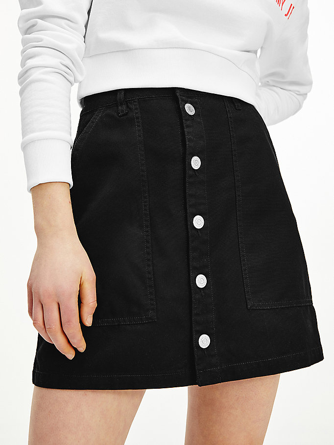black tommy badge organic cotton skirt for women tommy jeans