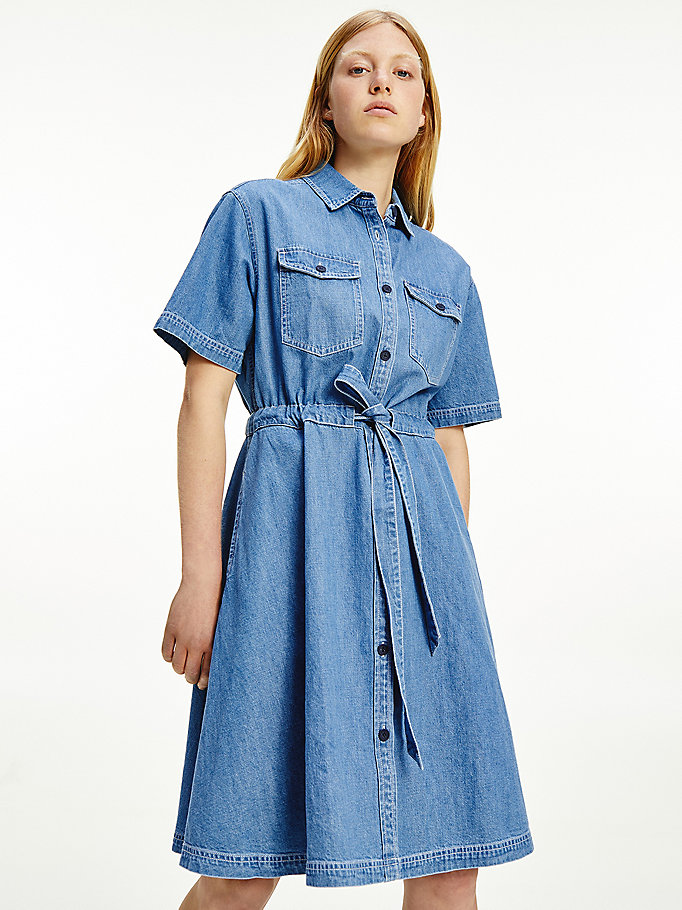 denim belted denim shirt dress for women tommy jeans