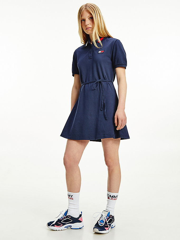 blue tommy badge organic cotton polo dress for women tommy jeans