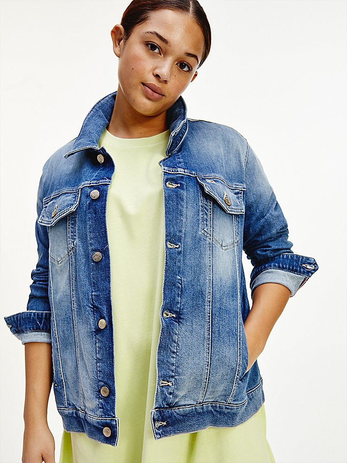 denim curve trucker jacket for women tommy jeans