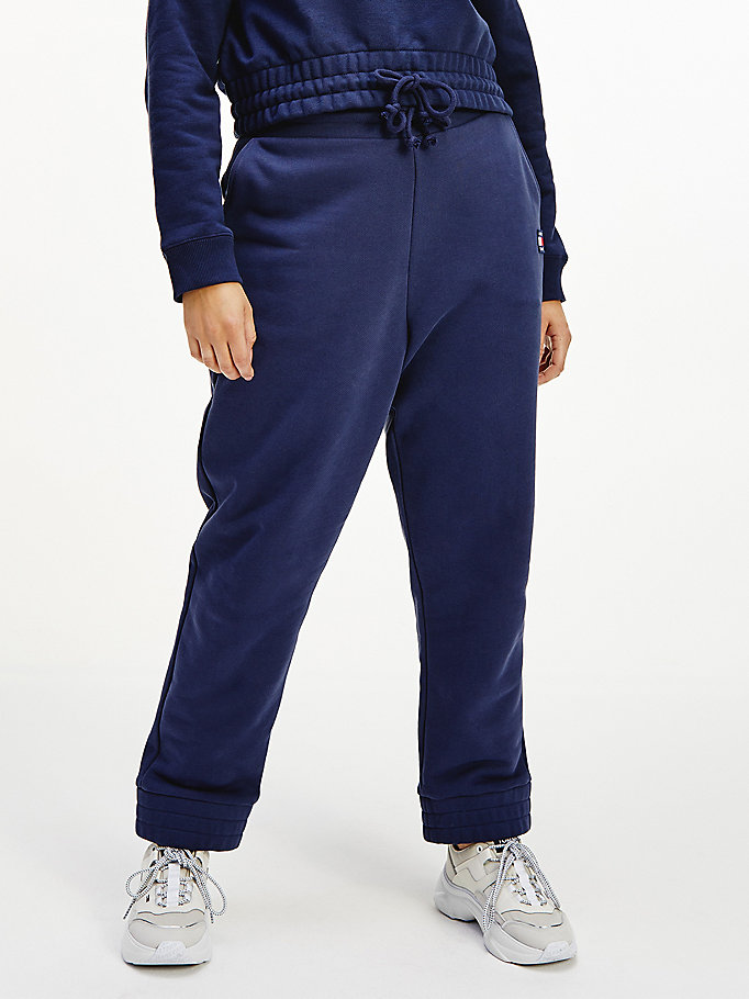 blue curve tommy badge relaxed fit joggers for women tommy jeans
