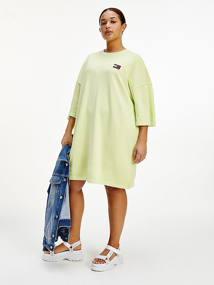 green curve tommy badge oversized t-shirt dress for women tommy jeans