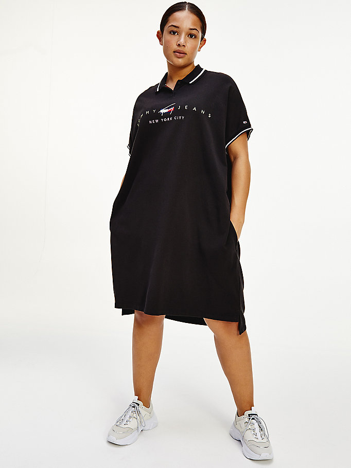 black curve modern logo polo dress for women tommy jeans