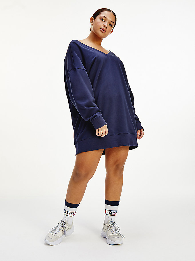 blue curve v-neck jumper dress for women tommy jeans