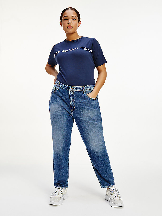 blue curve logo bodysuit for women tommy jeans