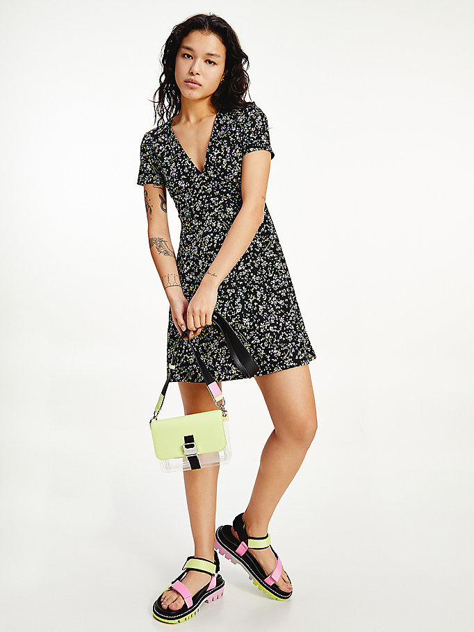 black floral print mini dress for women tommy jeans