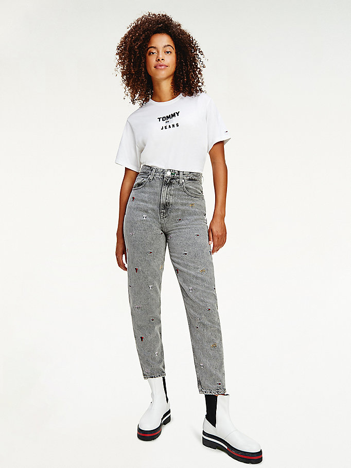 denim mom high rise tapered embroidered jeans for women tommy jeans