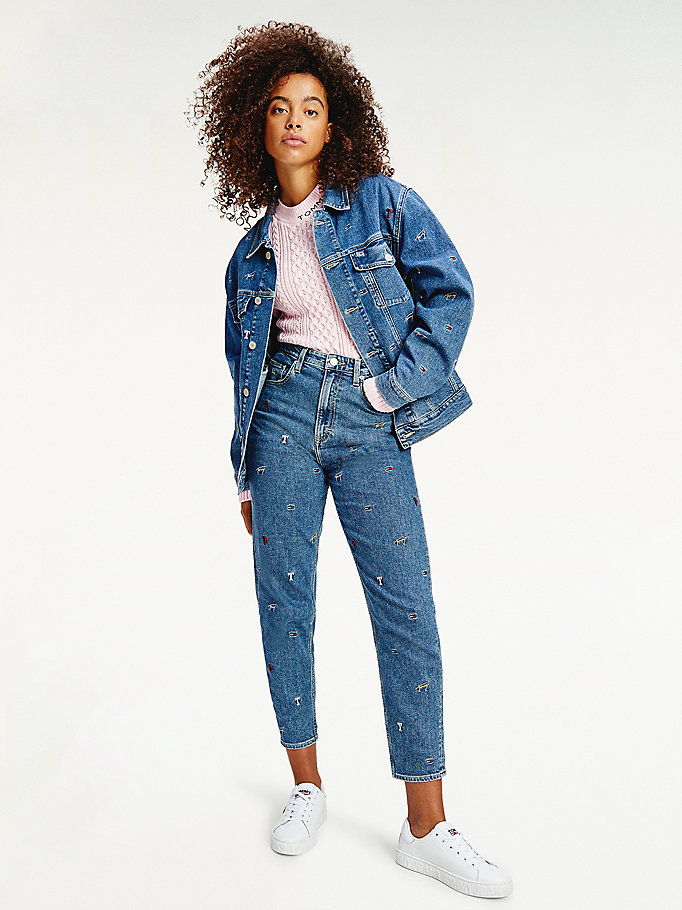 denim oversized logo embroidery trucker jacket for women tommy jeans
