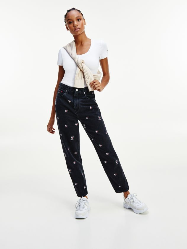 Mom Ultra High Rise Tapered Heart Embroidery Jeans