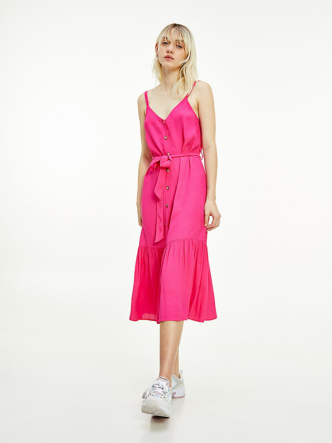 pink viscose midi dress for women tommy jeans