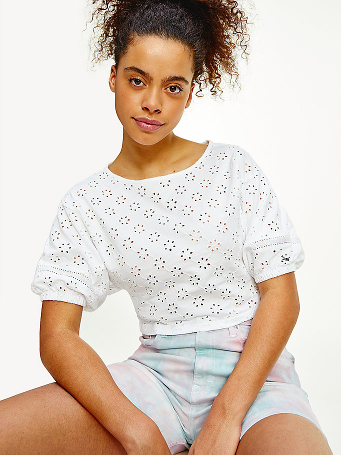 white broderie anglaise cropped t-shirt for women tommy jeans