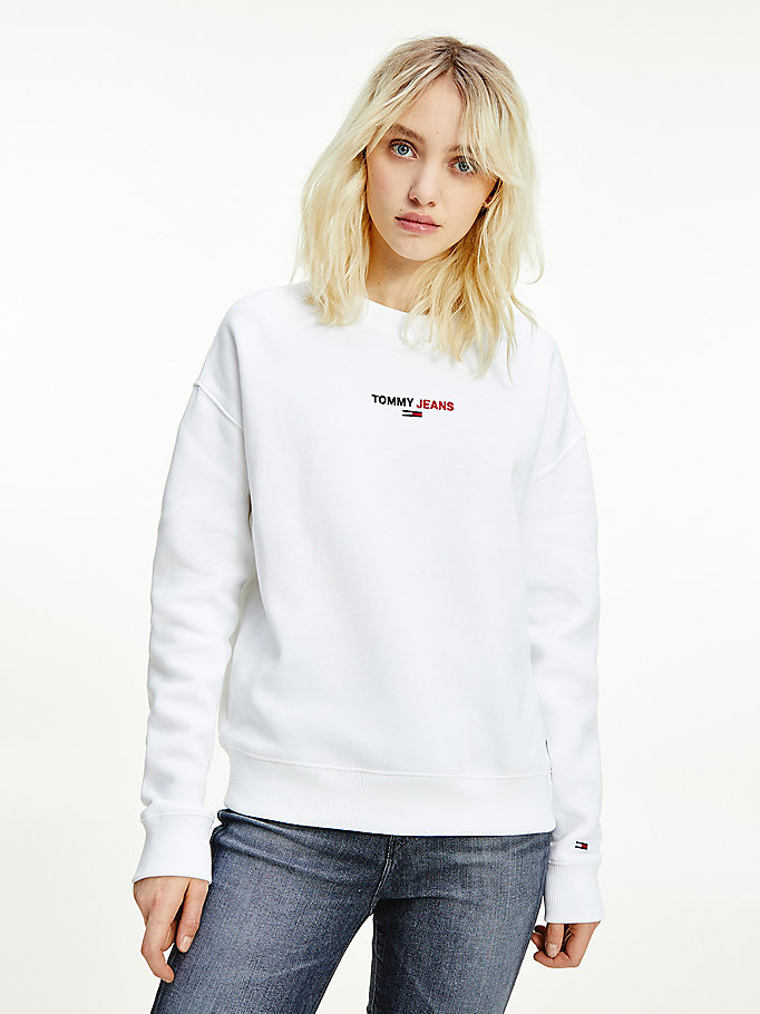 white chest logo crew neck sweatshirt for women tommy jeans