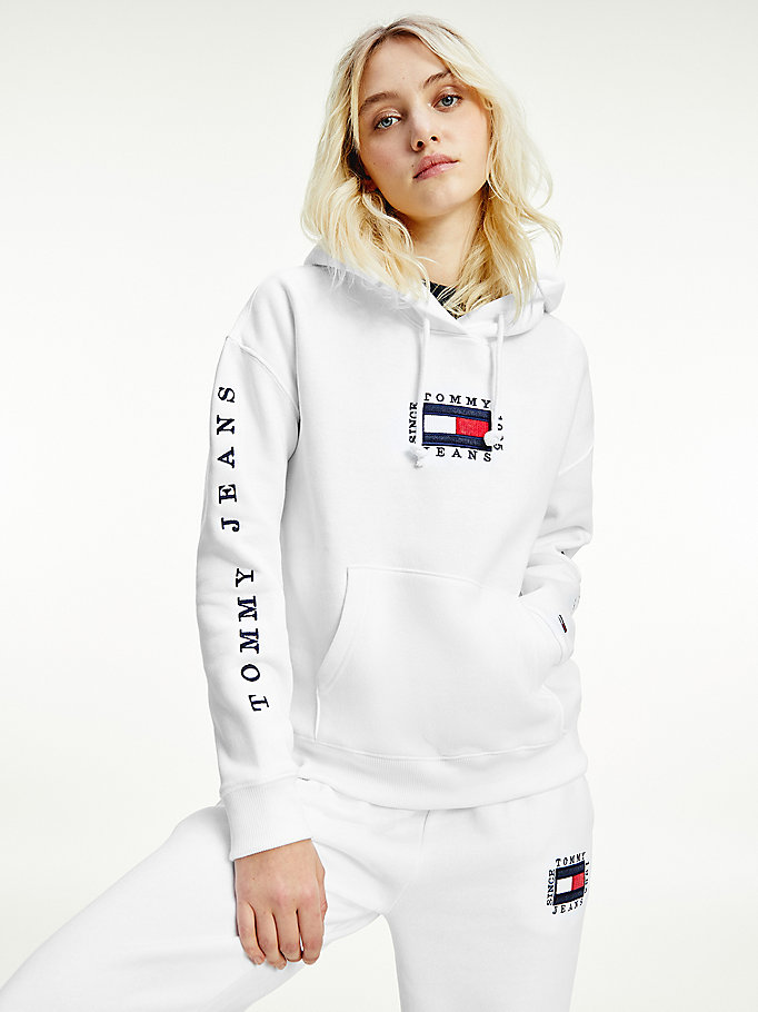 white box flag logo hoody for women tommy jeans