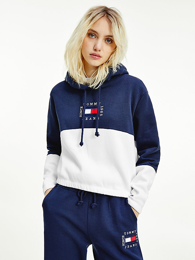 sweat à capuche colour-block court blanc pour femmes tommy jeans