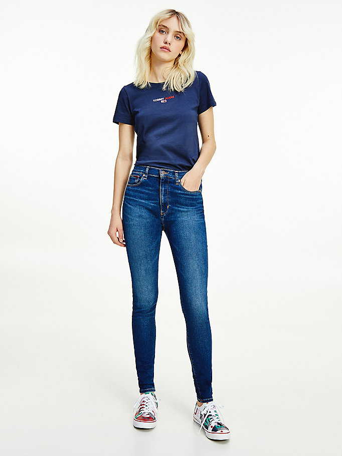 denim sylvia high rise superskinny omgeslagen jeans voor dames - tommy jeans