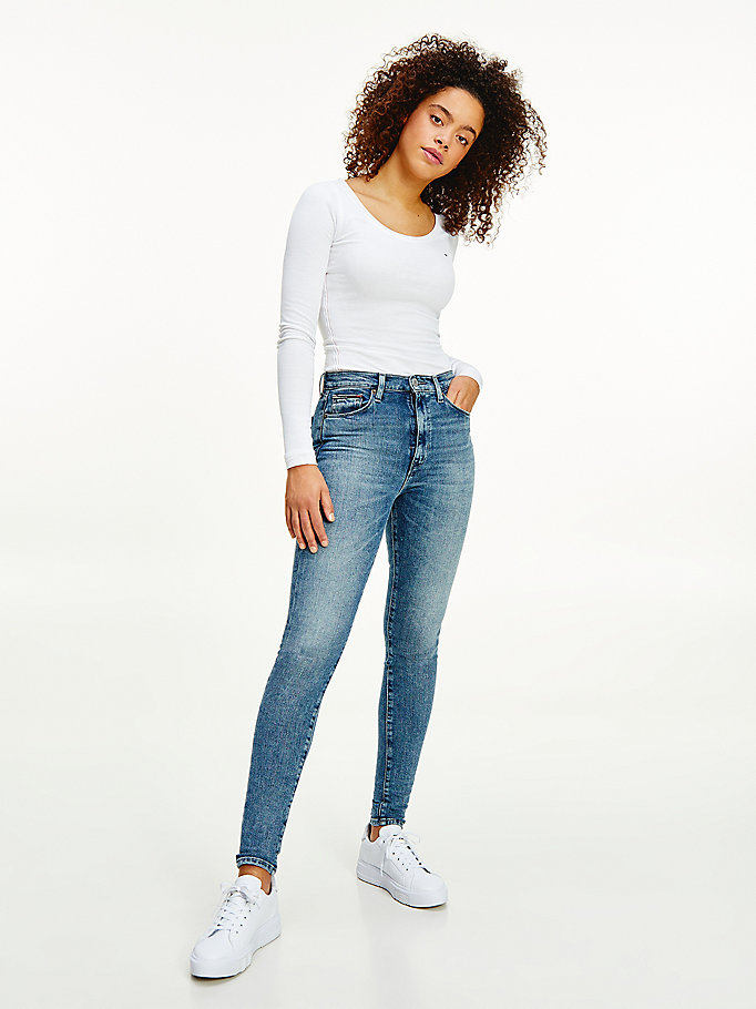 denim sylvia high rise superskinny jeans voor dames - tommy jeans