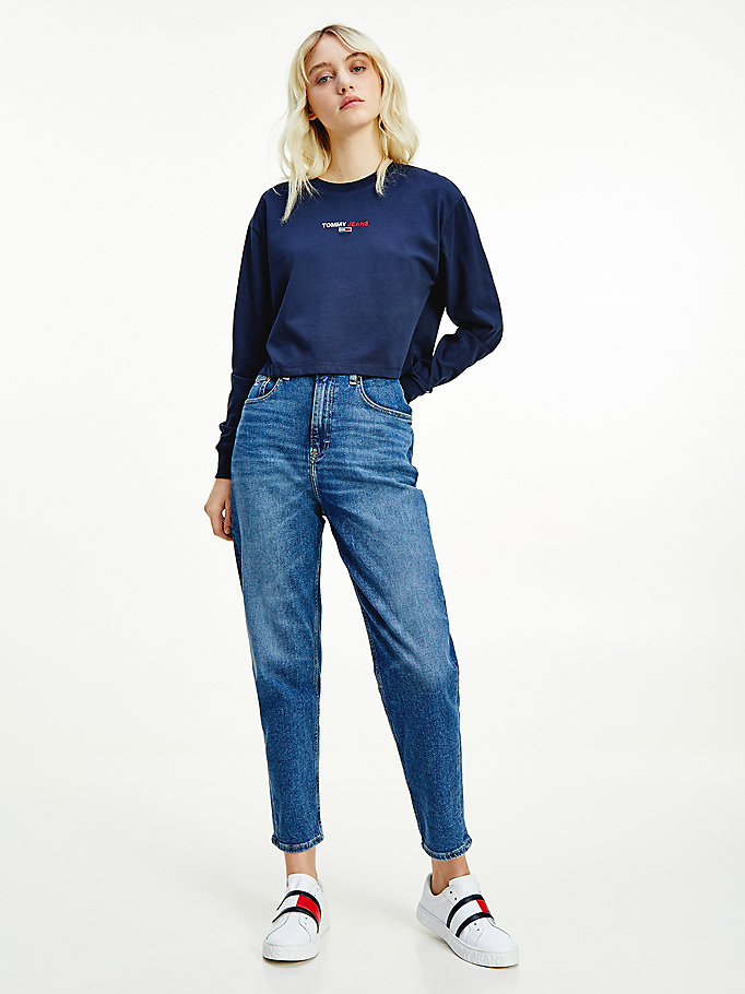 denim mom high rise tapered comfort jeans met fading voor dames - tommy jeans