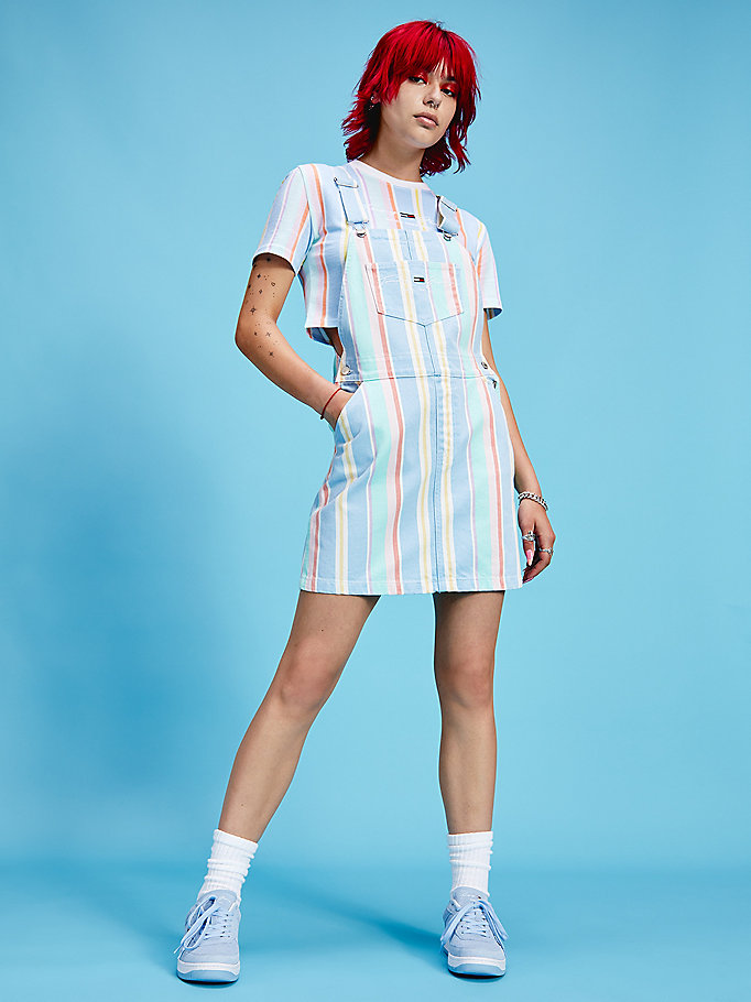 blue pastel stripe cotton dungaree dress for women tommy jeans