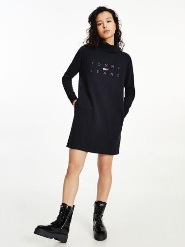 Mini abito felpa con logo tono su tono