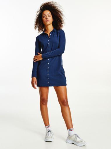 Button-Through Mini Polo Dress