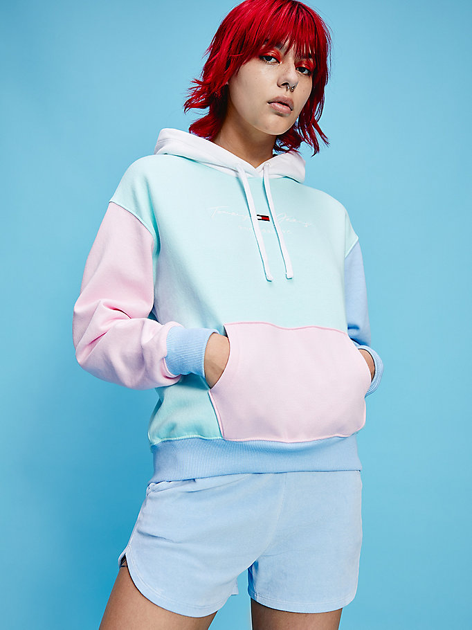 blue pastel colour-blocked hoody for women tommy jeans