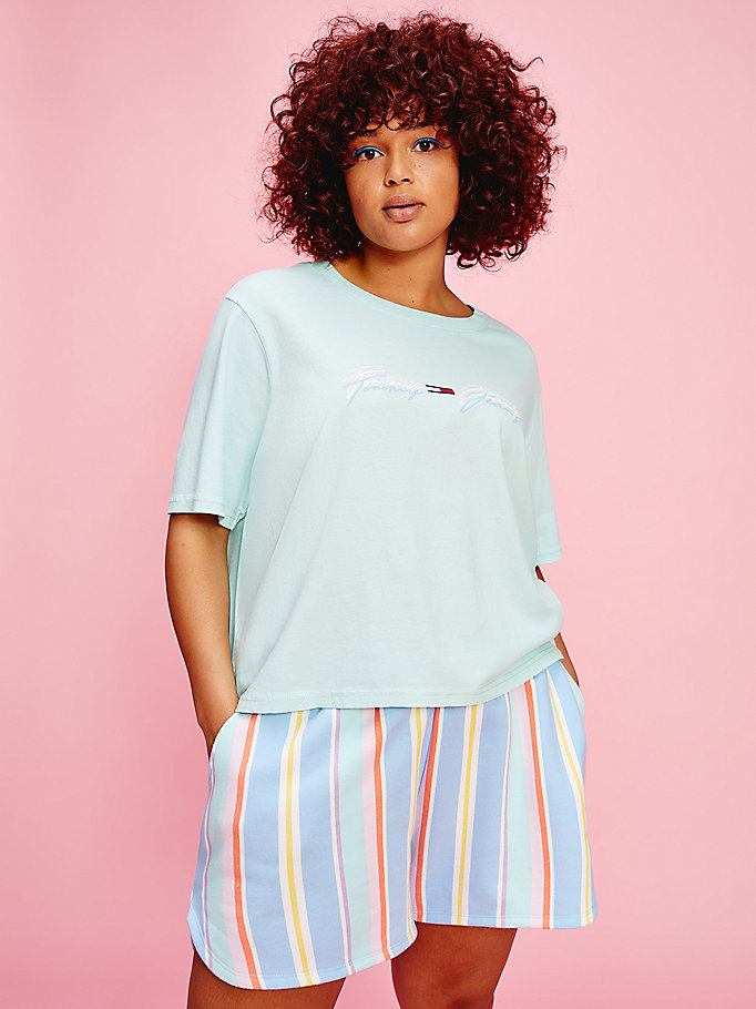 blue curve pastel signature logo t-shirt for women tommy jeans
