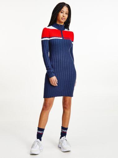 Colour-Blocked Half-Zip Jumper Dress