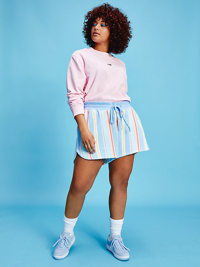 blue curve pastel stripe sweat shorts for women tommy jeans