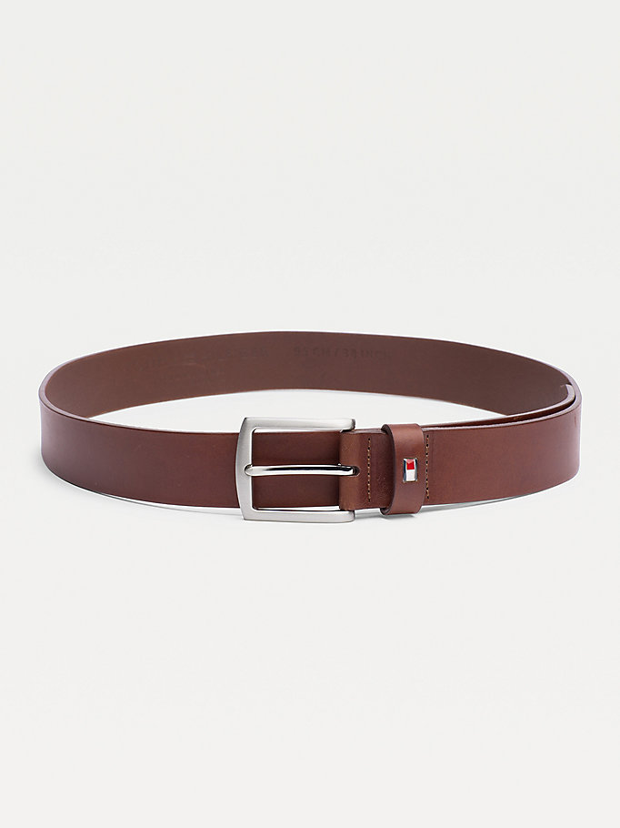 brown denton rounded buckle leather belt for men tommy hilfiger