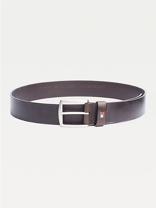 TOMMY HILFIGER Denton Flag Logo Leather Belt - TESTA DI MORO - TOMMY HILFIGER Belts - main image