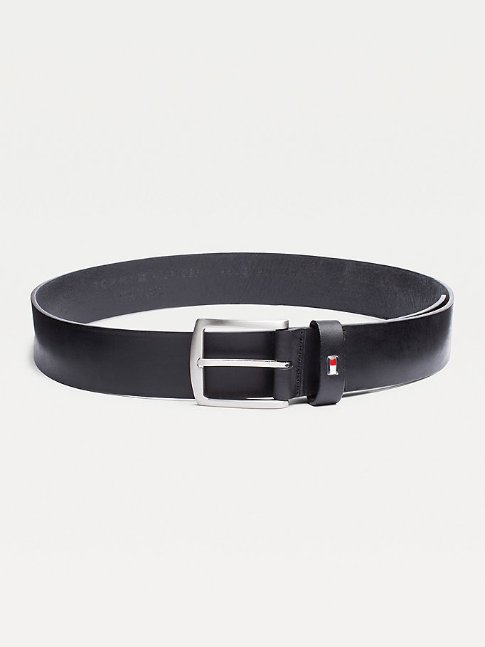 black denton flag logo leather belt for men tommy hilfiger
