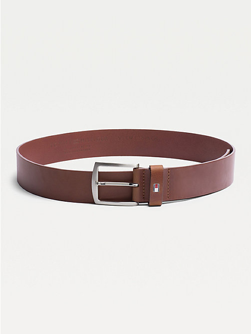 TOMMY HILFIGER Denton Flag Logo Leather Belt - DARK TAN - TOMMY HILFIGER Belts - main image