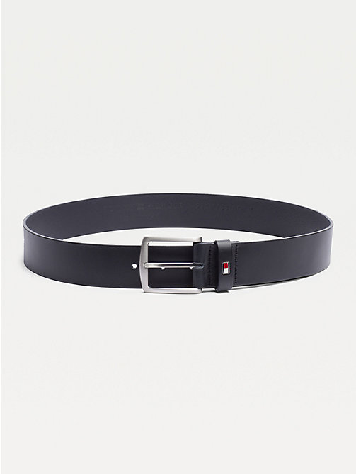 TOMMY HILFIGER Denton Flag Logo Leather Belt - MIDNIGHT - TOMMY HILFIGER Belts - main image