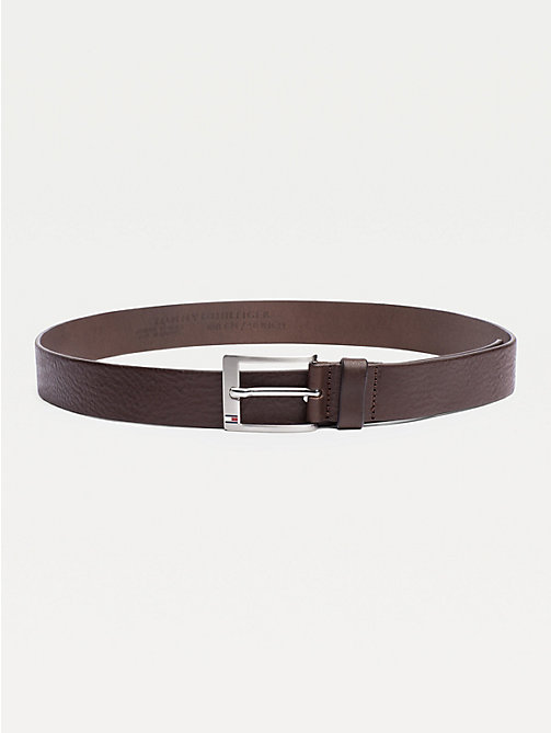 TOMMY HILFIGER Flag Buckle Leather Belt - TESTA DI MORO - TOMMY HILFIGER Men - main image