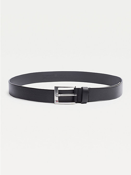 TOMMY HILFIGER Flag Buckle Leather Belt - BLACK - TOMMY HILFIGER Belts - main image
