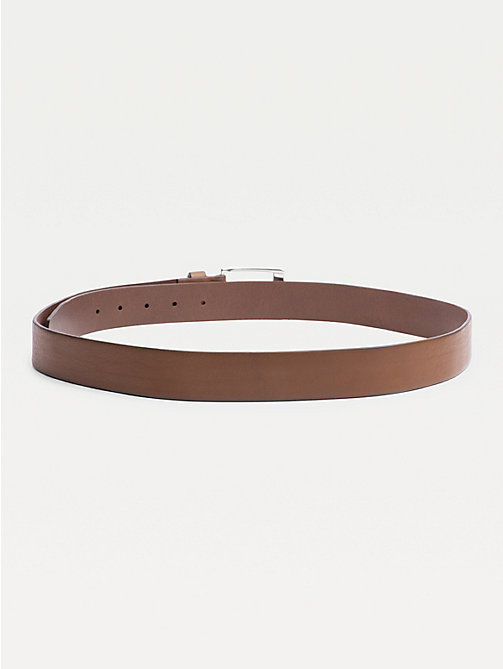 TOMMY HILFIGER Flag Buckle Leather Belt - DARK TAN - TOMMY HILFIGER Belts - detail image 1