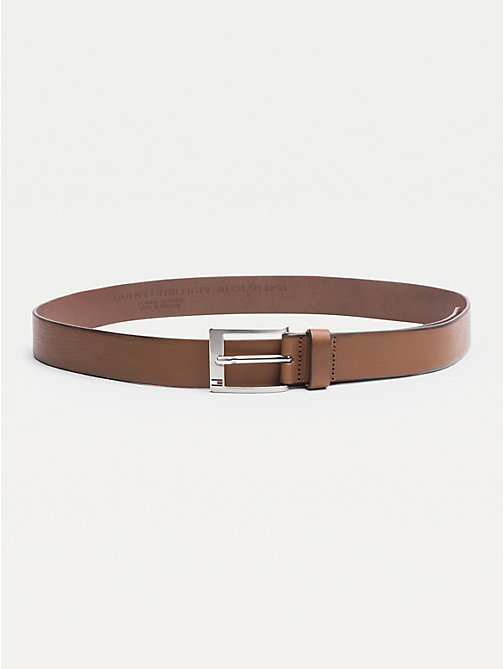 TOMMY HILFIGER Flag Buckle Leather Belt - DARK TAN - TOMMY HILFIGER Belts - main image