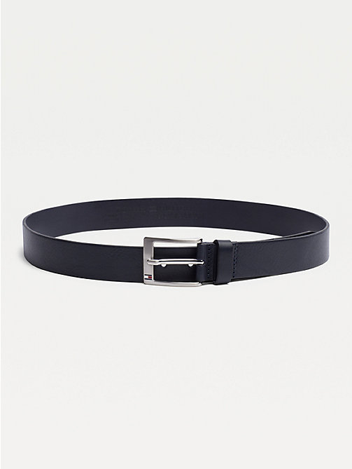 TOMMY HILFIGER Flag Buckle Leather Belt - MIDNIGHT - TOMMY HILFIGER Belts - main image