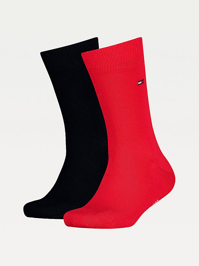 red 2-pack kids' classic socks for unisex tommy hilfiger