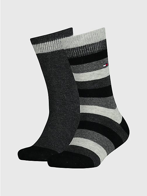 TOMMY HILFIGER 2-Pack Kids' Stripe Socks - BLACK - TOMMY HILFIGER Underwear & Socks - main image