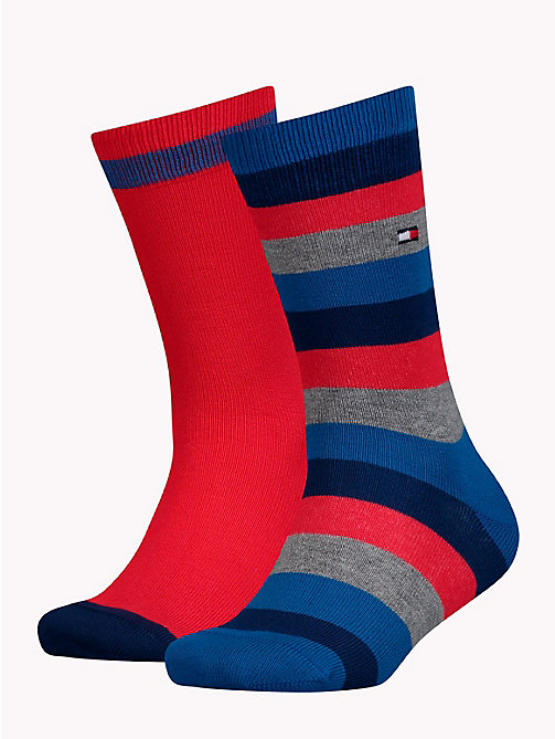 TOMMY HILFIGER 2-Pack Kids' Stripe Socks - RED/BLUE - TOMMY HILFIGER Underwear & Socks - main image