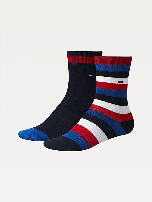 TOMMY HILFIGER 2-Pack Kids' Stripe Socks - MIDNIGHT BLUE - TOMMY HILFIGER Underwear - main image
