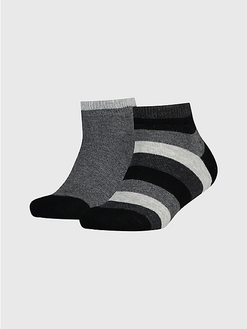 TOMMY HILFIGER 2-Pack Kids' Stripe Quarter Socks - BLACK - TOMMY HILFIGER Underwear & Socks - main image