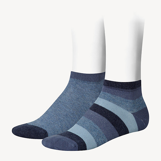 blue 2-pack kids' stripe quarter socks for unisex tommy hilfiger