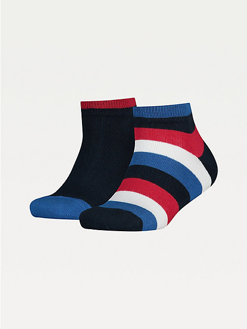 TOMMY HILFIGER 2-Pack Kids' Stripe Quarter Socks - MIDNIGHT BLUE - TOMMY HILFIGER Underwear & Socks - main image