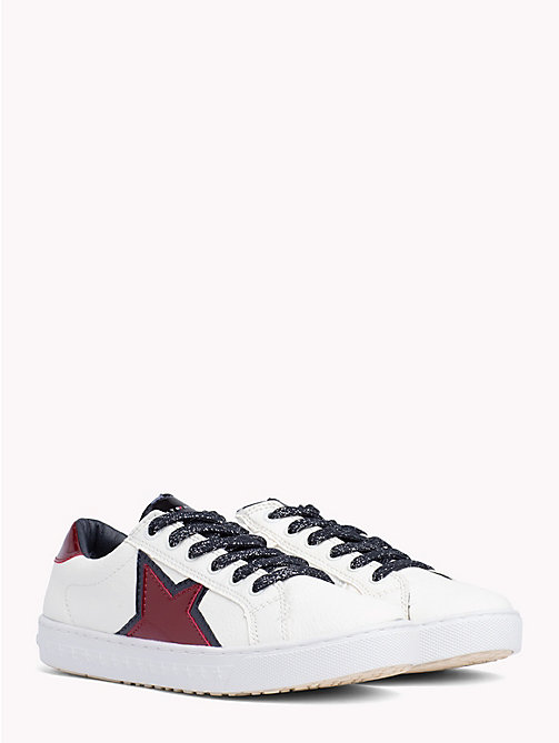TOMMY HILFIGER Kids' Eco Leather Star Trainers - WHITE RED - TOMMY HILFIGER Shoes & Accessories - main image