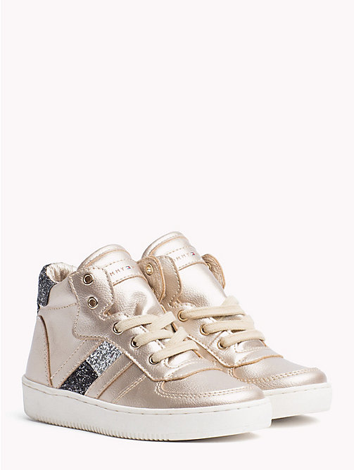 TOMMY HILFIGER Kids' Sparkle High-Top Trainers - SILVER/BLACK/SILVER - TOMMY HILFIGER Shoes & Accessories - main image