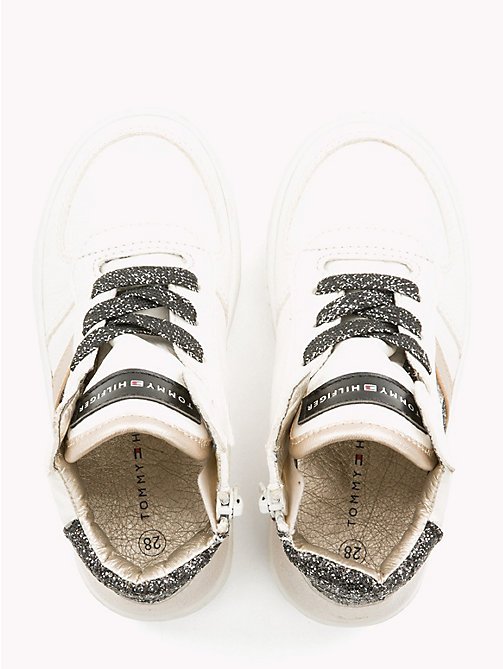 TOMMY HILFIGER Kids' Sparkle High-Top Trainers - WHITE/BLACK/SILVER - TOMMY HILFIGER Shoes & Accessories - detail image 1